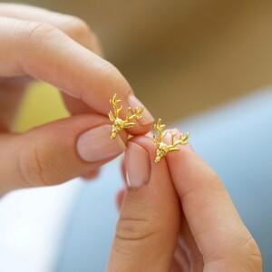 Stag Stud Earrings in Gold