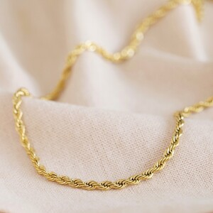 Gold Stainless Steel Rope Chain Necklace