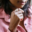 Lisa Angel Ladies' Silver Double Feather Ring on Model