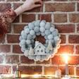 Christmas Scene Pom Pom Inside Wreath