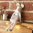 Seated Pink Mouse Doll Decoration