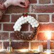 Pom Pom Christmas Pudding Hanging Wreath