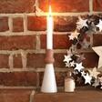 Festive White and Terracotta Candlestick Holder