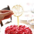 Personalised Wreath Couples Name Gold Acrylic Cake Topper