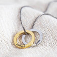 Lisa Angel Hand-Stamped Men's Personalised Double Hoop Charm Necklace Gold and Silver