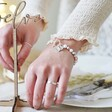 Model Wearing Personalised Double Charm Pearl Bracelet