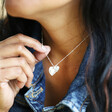 Model Wearing Lisa Angel Ladies' Personalised Sterling Silver Double Heart and Birthstone Charm Necklace