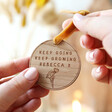 Close Up of Personalised 'Keep Going Keep Growing' Wooden Hanging Decoration From Lisa Angel