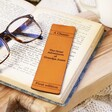 Personalised Leather 'Great Adventures' Bookmark in Book