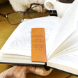 Personalised Meaningful Message Leather Bookmark on Book