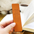 Model Holding Personalised Meaningful Message Leather Bookmark