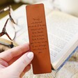 Model Holds Personalised Meaningful Message Leather Bookmark