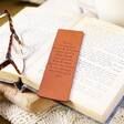 Personalised Meaningful Message Leather Bookmark in Book