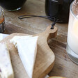 Close up of Personalised Small Wooden Cheeseboard Handle at Lisa Angel