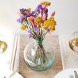 Round Recycled Glass Bottle Vase, 25cm Full of Flowers