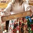 Model Holding Long Personalised Christmas Wooden Light Box