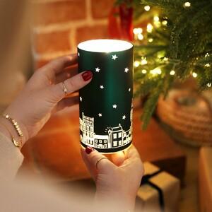 LED Teal Houses Decorative Cylinder Light