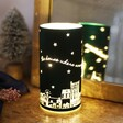 Personalised LED Teal Houses Cylinder Light