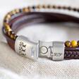 Lisa Angel Men's Brown Leather and Tiger Eye Bead Bracelet
