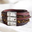 Lisa Angel Men's Personalised Leather and Tiger Eye Bead Bracelets