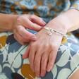 Model Wearing Lisa Angel Ladies' 'Nana' Meaningful Word Bangle in Silver