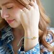 Lisa Angel Throat Chakra and Swarovski Crystal Friendship Bracelet on Model