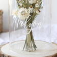 Personalised Wedding Couple Glass Dome Centrepiece with Wooden Base