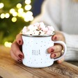 Model Holds Personalised 'Tis The Season White Enamel Mug