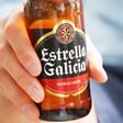 Close up of Bottle or Estrella Spanish Lager Beer at Lisa Angel