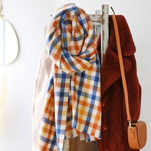 Blue and Yellow Check Blanket Scarf