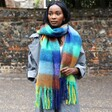 Model Wearing Colourful Acid Brights Winter Scarf