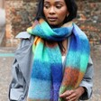 Female Model Wearing Colourful Acid Brights Winter Scarf