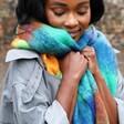 Model Wearing Vibrant Acid Brights Winter Scarf