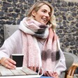 Model Wearing Pink and Grey Check Winter Scarf