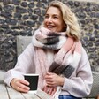 Pink and Grey Check Winter Scarf on Model