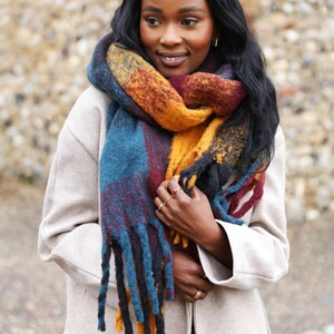 Thick Burgundy Navy and Mustard Winter Scarf