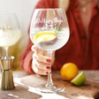 Model Holding Personalised 'Favourite Things' Balloon Gin Glass