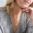 Lisa Angel Sterling Silver Satellite Necklace Chain Layered With Other Necklaces On Model