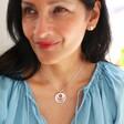 Female Model Wearing Ladies' Personalised Sterling Silver Double Hoop Necklace with Swarovski Crystal