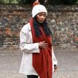 Model Wearing Lisa Angel Lambswool Scarf in Terracotta