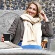 Recycled Blanket Scarf in Beige on Model