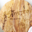 Personalised 'Buon Appetito' Round Olive Wood Pizza Board