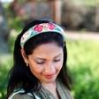 Model Wearing Lisa Angel Ladies' Powder Country Garden Padded Headband