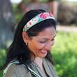 Model Wearing Lisa Angel Powder Country Garden Padded Headband