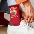 Lisa Angel with Ladies' Powder Floral Pug Ankle Socks
