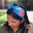 Model Wearing Lisa Angel Powder Retro Meadow Embroidered Headband