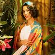 Model Wearing Lisa Angel with Powder Retro Meadow Print Scarf