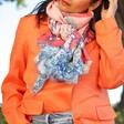 Lisa Angel Model Wearing Powder Summer Fete Print Scarf