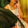 Model Wearing Lisa Angel Powder Summer Fete Print Scarf