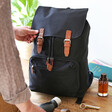 Personalised 'Your Drawing' Hidden Message Canvas Laptop Rucksack in Black